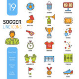 Líneas finas sistema del fútbol del icono del web del color Fotos de archivo libres de regalías