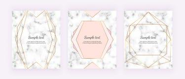 Líneas geométricas de oro en la textura de mármol blanca Diseño minimalista Fondo moderno para la invitación, tarjeta, bandera, b stock de ilustración
