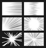 Líneas horizontales y radiales cómicas sistema de la velocidad del vector stock de ilustración