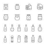 Líneas icono fijado - salsa de tomate libre illustration