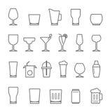 Líneas icono fijado - vidrio y bebida libre illustration
