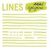 Líneas a mano - highlighters reales Fotografía de archivo