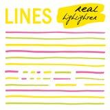 Líneas a mano - highlighters reales Imágenes de archivo libres de regalías