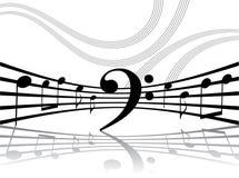 Líneas musicales abstractas con las notas Fotos de archivo libres de regalías