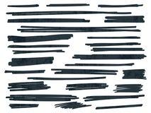 Líneas negras del vector del cepillo del marcador del punto culminante fijadas ilustración del vector
