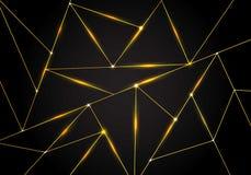 Líneas poligonales de lujo de los triángulos del modelo y del oro con la iluminación en fondo oscuro Formas bajas geométricas de  ilustración del vector