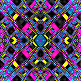 Líneas psicodélicas Fondo abstracto geométrico Ilustración del vector Efecto del Grunge Imágenes de archivo libres de regalías