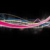 Líneas que brillan intensamente multicoloras en negro ilustración del vector