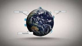 Líneas que conectan sobre el mundo que muestra destinos libre illustration
