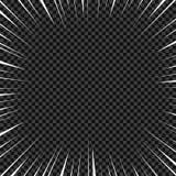 Líneas radiales blancas para los tebeos, acción del vector del super héroe Velocidad del marco de Manga, movimiento, fondo de la  ilustración del vector