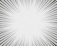 Líneas radiales del vector Concepto de velocidad, movimiento, color negro Manga de los elementos del diseño, historieta, tebeos F ilustración del vector