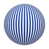 Líneas rayadas azules y blancas textura del modelo en la esfera o la bola aislada en el fondo blanco Diseño ascendente de la mofa libre illustration