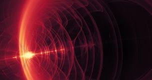 Líneas rojas y amarillas partículas de las curvas de los círculos que pulsan hacia fuera lentamente almacen de metraje de vídeo