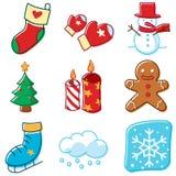Líneas simples iconos del invierno Fotografía de archivo libre de regalías