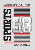 Líneas vector de los deportes del equipo universitario del cartel de los números libre illustration