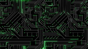Líneas Verdes que se mueven a través de placa de circuito ilustración del vector