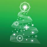 Líneas y copos de nieve decorativos del árbol de navidad Imagen de archivo libre de regalías