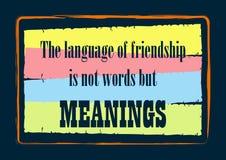 A língua da amizade é não palavras mas significados que inspiram a ilustração do vetor das citações ilustração royalty free