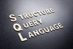 Língua de pergunta da estrutura do SQL imagem de stock