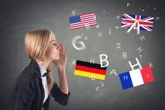 Língua estrangeira. Conceito - aprendendo, falando, Foto de Stock