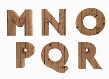 A língua inglesa M N O P Q R das letras de madeira do alfabeto em 3D rende a imagem Fotografia de Stock