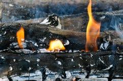 Línguas do close-up do fogo da chama fotografia de stock royalty free