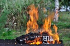 Línguas do close-up do fogo da chama fotos de stock royalty free
