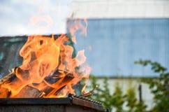 Línguas do close-up do fogo da chama foto de stock royalty free