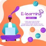 Línguas estrangeiras de aprendizagem em linha, menina afro-americana de assento para dispositivos para aprender línguas, estudo e ilustração do vetor
