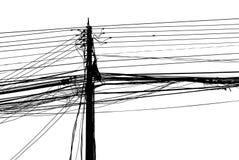 Lío caótico del alambres en un pilar Foto de archivo libre de regalías