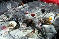 Lío en la tabla después del partido Foto de archivo libre de regalías