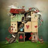Lío en tarjetas imagen de archivo libre de regalías