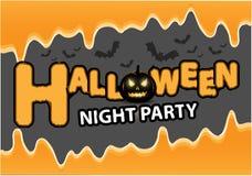 Líquido anaranjado del palo de la calabaza del negro del partido de la noche del feliz Halloween en vector gris del fondo del fes Fotografía de archivo