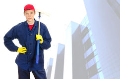 Líquido de limpeza de janela masculino novo Fotos de Stock