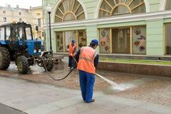 Líquido de limpeza de rua Foto de Stock Royalty Free