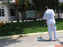 Líquido de limpeza de rua do BW Fotos de Stock Royalty Free