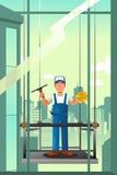 Líquido de limpeza de Windows de construções altas da elevação Foto de Stock Royalty Free