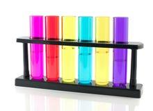 Líquido en los tubos de cristal Imagen de archivo