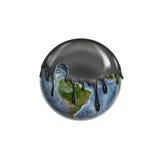 Líquido negro del aceite que se escapa en la tierra del diente Imagen de archivo libre de regalías