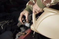 Líquido refrigerante de derramamento do mecânico ao radiador O homem alista o líquido refrigerante no sistema de refrigeração Imagem de Stock Royalty Free