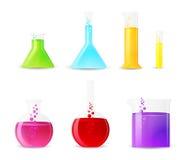 Líquidos coloridos químicos de Glasswarewith Imagens de Stock