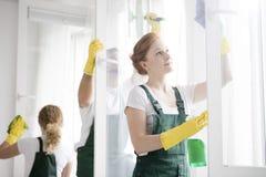 Líquidos de limpeza que lavam janelas foto de stock