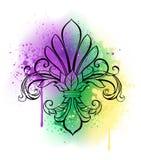 Lírio com aquarela Mardi Gras Fleur de Lis Foto de Stock Royalty Free