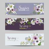Lírio e Anemone Flowers Floral Banners e etiquetas ajustados Fotografia de Stock