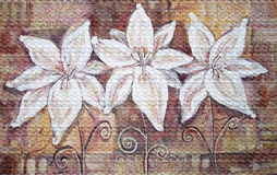 Lírios brancos no fundo marrom Pintura de Acryl Fotos de Stock Royalty Free
