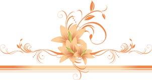Lírios com o ornamento floral na beira à moda Foto de Stock Royalty Free