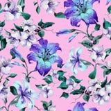 Lírios de tigre bonitos nos galhos no fundo cor-de-rosa Teste padrão floral sem emenda em cores azuis, roxas vívidas Pintura da a ilustração do vetor