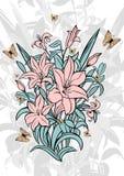 Lírios e borboletas abstratos Imagem de Stock Royalty Free
