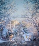 Lód i śnieg zakrywająca droga obrazy royalty free
