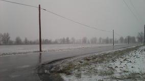 Lód i śnieg Kemp droga w Lima, daleko, Ohio Obrazy Royalty Free